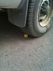 Driving over lemon
