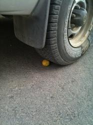Driving over lemon