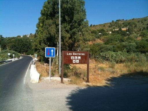 Turn off to Lanjaron across the mountains and Beneficio