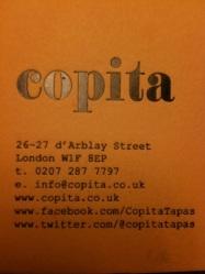 Copita restaurant card