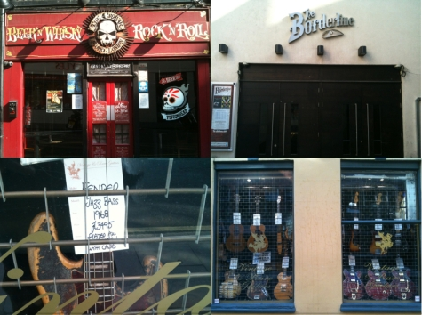 Music shops and venue montage London