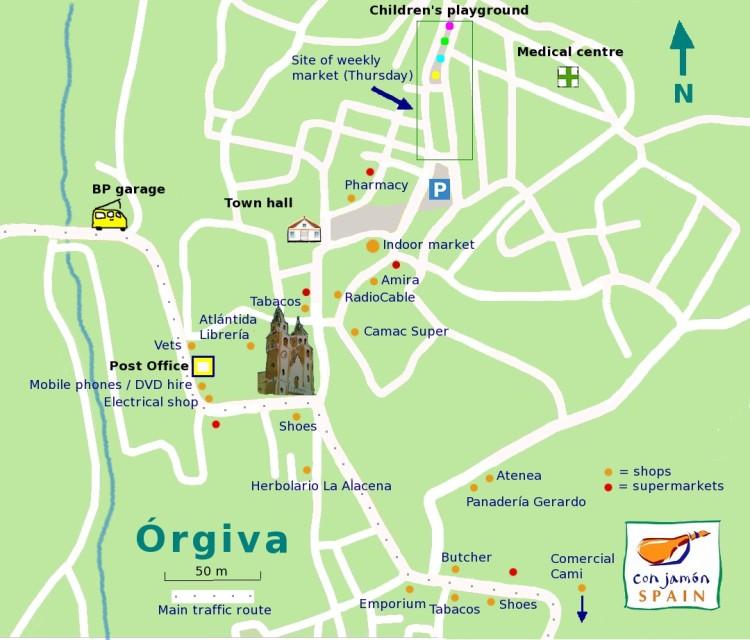 Orgiva shops map