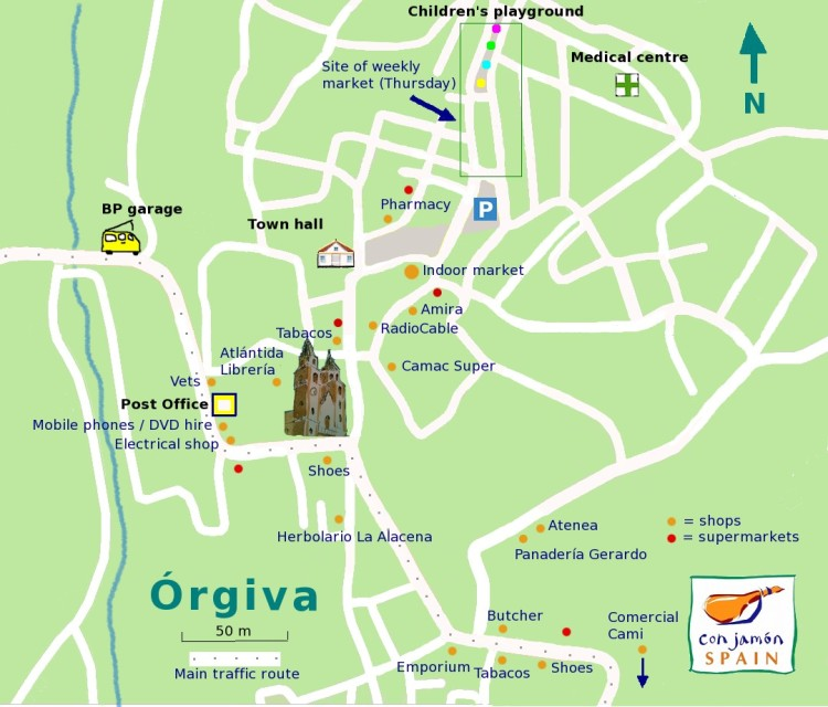 Orgiva shops map