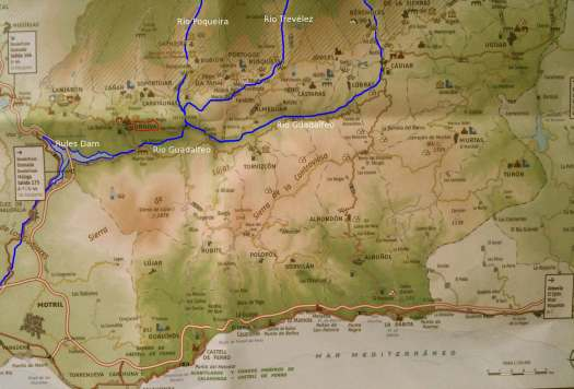 Las Alpujarras map showing rivers