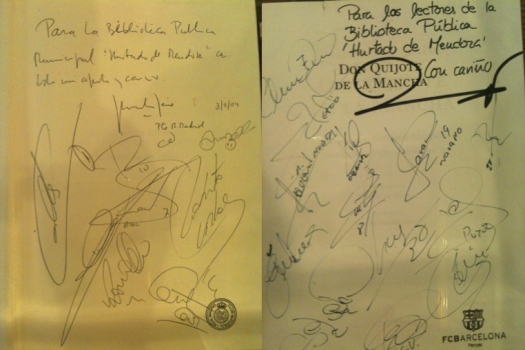 Cervantes book signed by Real Madrid and Barcelona teams