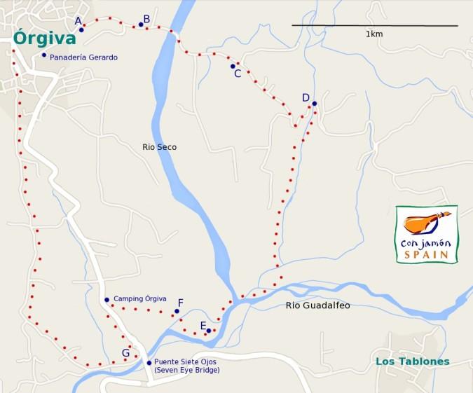 Orgiva / Rio Guadalfeo walk map