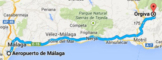 Málaga to Órgiva route - Google maps