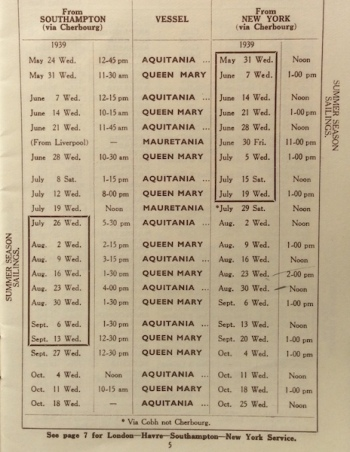 Cunard White Star sailing times
