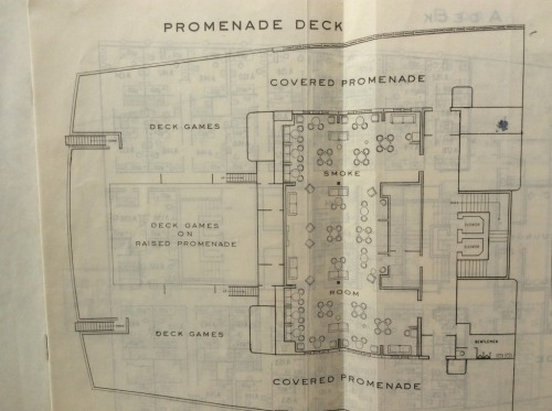 Queen Mary ship plan of promenaded deck