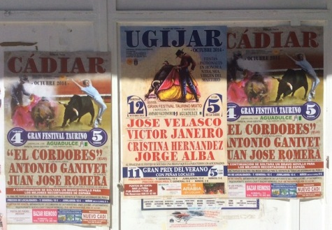 Bullfighting posters in Trevelez